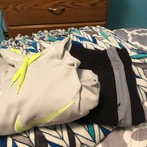 Nike and Under Armour sweatshirt and sweatpants